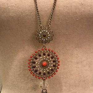 Jewelry - Long, gold chain necklace with circular detailing